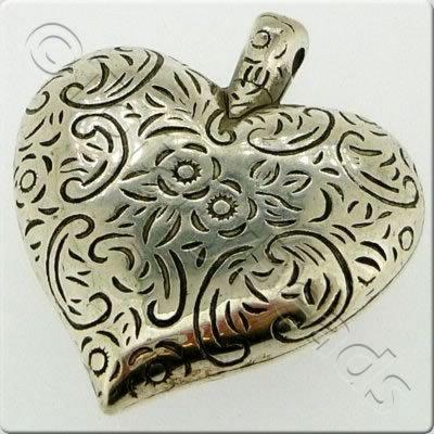 Acrylic Antique Silver Charm - Heart 35mm
