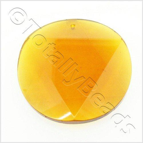 Glass Pendant 6 Point Disc 50mm - Dark Amber