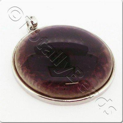 Ceramic Pendant Cracked Cabochon - Burgundy