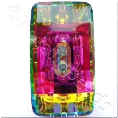 Crystal Button - Rectangle 30mm - Rainbow