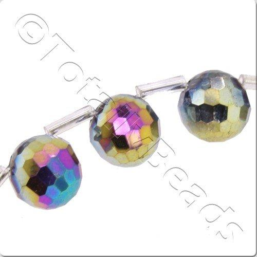 Crystal 96 Facet Round 9mm Off Centre - Rainbow