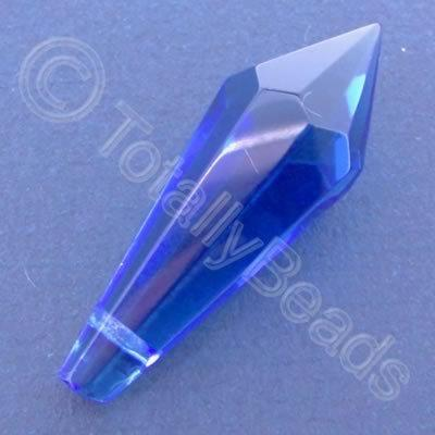 Glass Pendant Pointed Drop Blue - 37mm