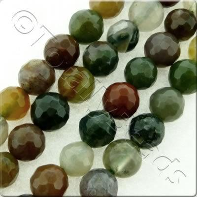Indian Agate Facet Round Beads - 4mm