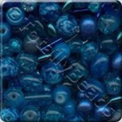 Mixed Glass Beads - Blue - Tube