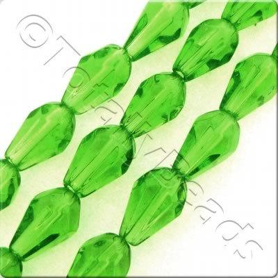 Glass Facet Drop - 7mm - Green