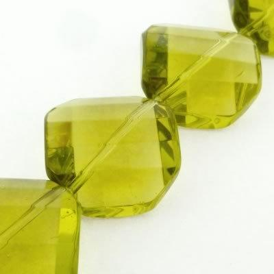 Crystal Twist Octagon Beads - 20mm - Olive - 15pcs