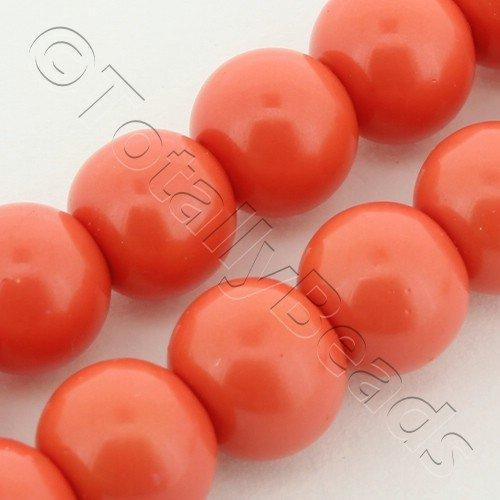 Glass Pearl Round 8mm Coral Red Grade B