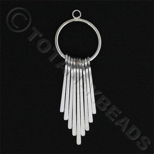 Graduated Fan - Textured Silver Ring 2pcs