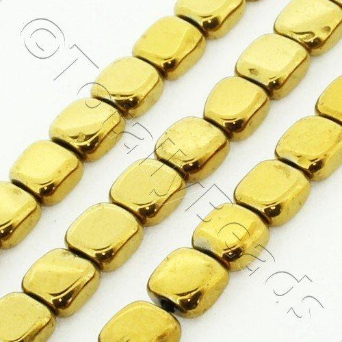 Hematite Flat Square 4mm - Gold Plated