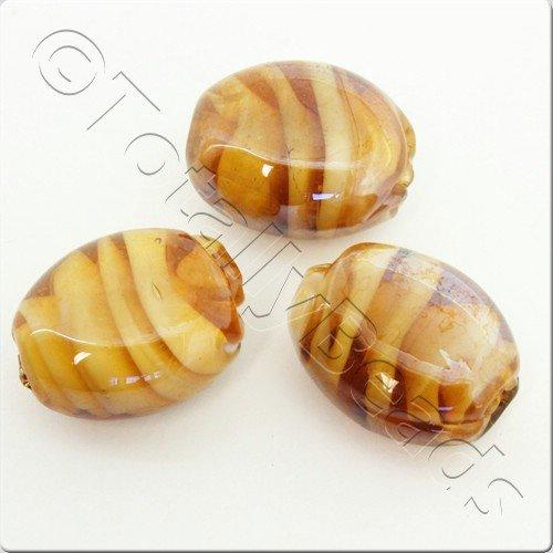 Lampwork Glass Bead Oval 22mm - Amber Swirl Luster