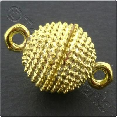 Magnetic Clasp- Spotted Round 12mm - Gold Plate