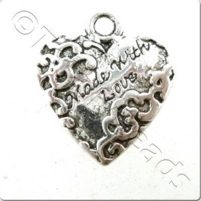 Tibetan Silver Charm - Made With Love Heart 2