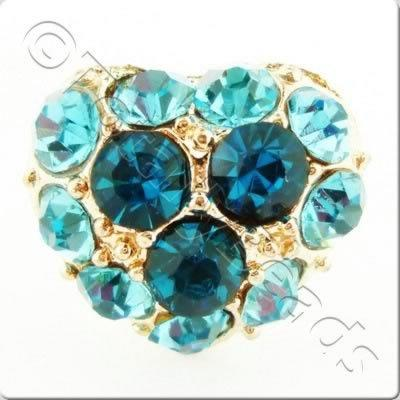 Metal-base Crystal Button - Heart Turquoise
