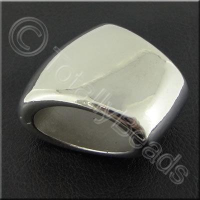 Metalised Acrylic Scarf Bead 32mm - Antique Silver