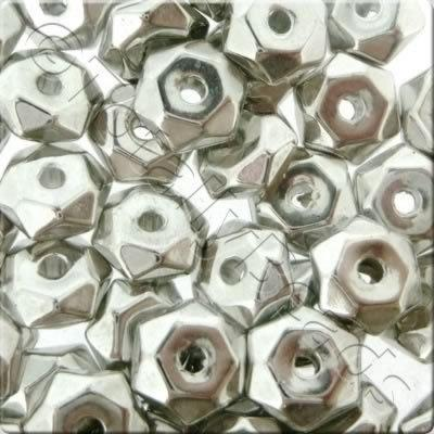 Acrylic Antique Silver Bead - Hex Rondelle 7mm