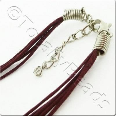 Wax Cotton Cord Necklace - Burgundy