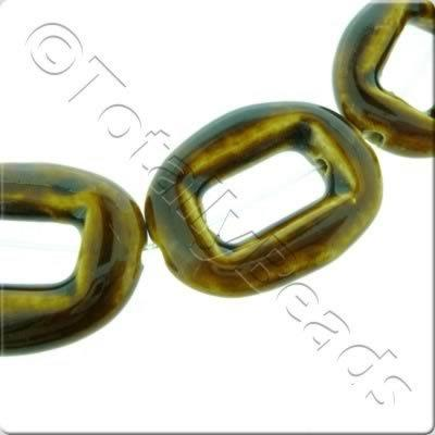 Ceramic Beads - Hollow Oval 30x40mm - Brown