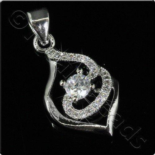 Pave Crystal Pendant - Silver Swirl Drop