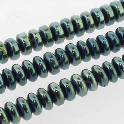 Hematite Rondelle 4mm - Green Plated