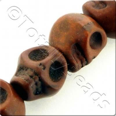 Synthetic Turquoise Skulls 12mm Brown