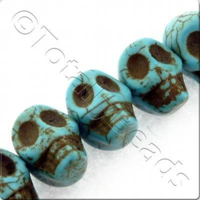Synthetic Turquoise Skulls 15mm - Side Drilled Turquoise