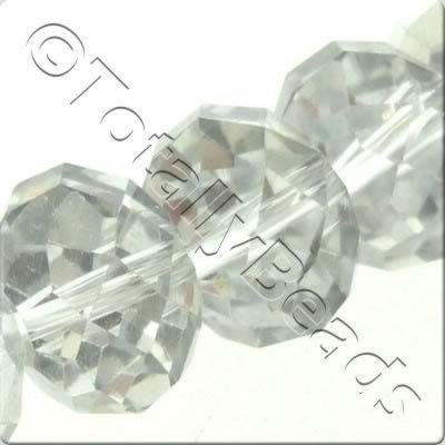 Crystal Rondelle 10x14mm - Half Silver Plate