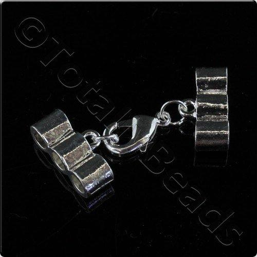 3 Row 4mm Cap Lobster Clasp - Silver Plated