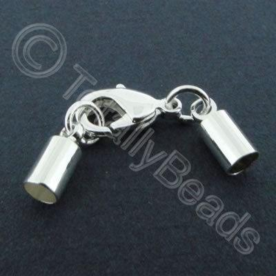 Kumihimo 4mm Barrel Lobster Clasp Silver - 2 sets