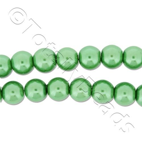 Glass Pearl Round Beads 6mm - Fresh Green