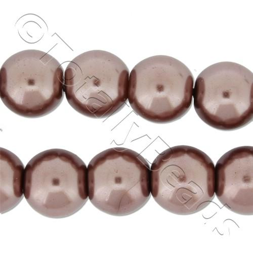 Glass Pearl Round Beads 10mm - Brown