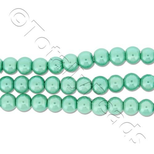 Glass Pearl Round Beads 4mm - Sea Foam Green