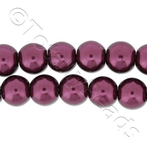 Glass Pearl Round Beads 8mm - Burgundy