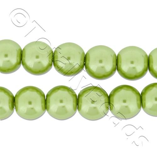 Glass Pearl Round Beads 8mm - Light Olive
