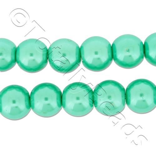 Glass Pearl Round Beads 8mm - Sea Foam Green