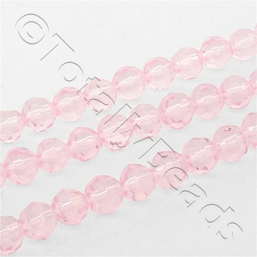 Faceted Round 6mm Beads - Pink