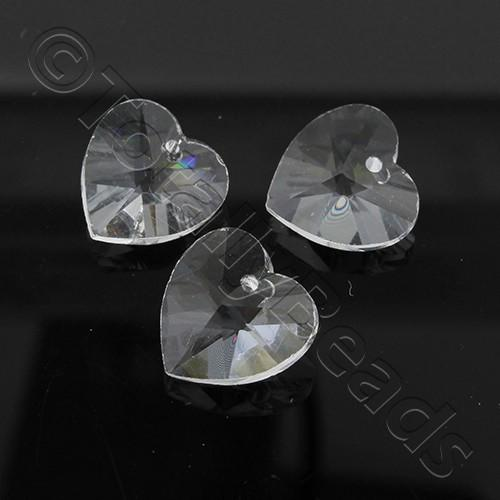Crystal Charm Heart 10mm - Clear 10pcs