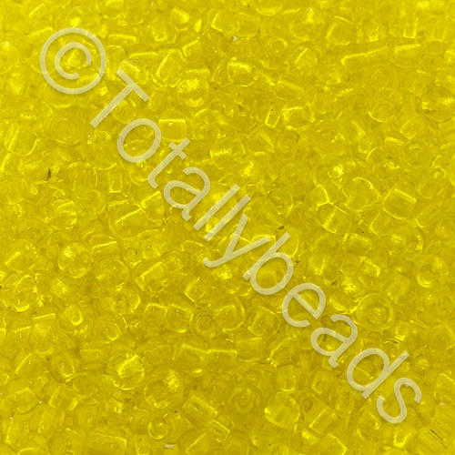 Seed Beads Transparent  Yellow - Size 8