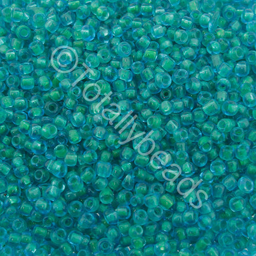Seed Beads Colour Lined  Green  Teal - Size 11