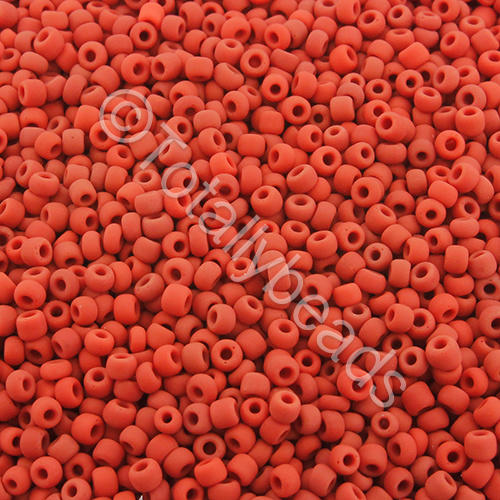 Seed Beads Opaque Frosted  Red - Size 11