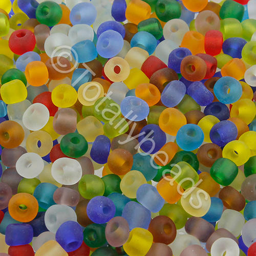 Seed Beads Transparent Frosted  Mixed - Size 6