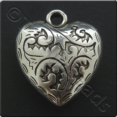 Metalised Antique Silver Heart 24x27x9mm