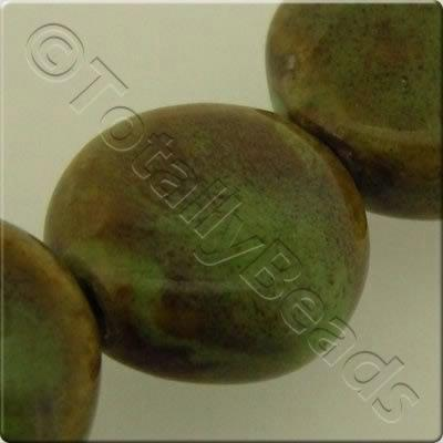 Ceramic Beads - Disc 20mm - Green