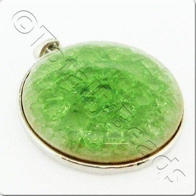 Ceramic Pendant Cracked Cabochon - Green