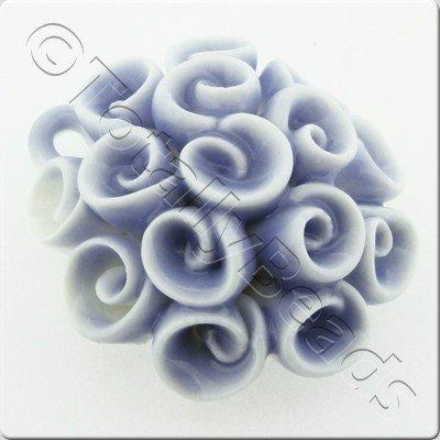 Ceramic Pendant - Swirl Flower - Pale Blue