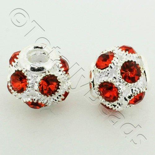 Large Hole Round Rhinestone Spacer Bead 14mm - Red