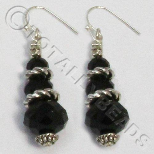 Christmas Tree Earrings - Black