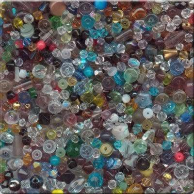 Mixed Glass Crystal Beads - Rainbow - 100g