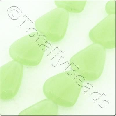 Glass Rounded Triangle Drop - 15x12mm - Opal Pale Green - 21pcs