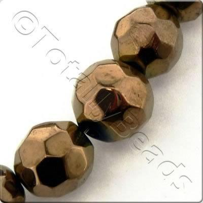 Plated Glass Bead - Facet Round 12mm - Bronze