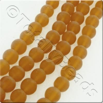 Glass Round - 6.5mm - Frosted Amber - 47pcs